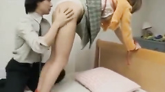 Japanese fucker ties beauty chick and undresses her