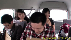 Naughty Japanese chicks are coveting to guys in the bus