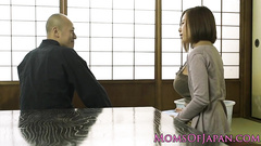 Bald Japanese dude gets seduced for hot fuck by busty girlfriend