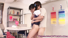 Japanese girl in glasses gets fucked in bent over pose