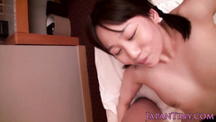 Japanese teen dresses up in tight bodysuit and gets fucked