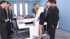 Awesome Japanese office girl got gang banged