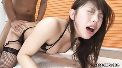Asian pussy and mouth lips are petting the rod