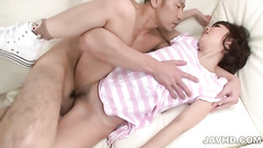 Cam records Asian girl move on big and fat cock