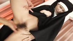 Dirty nun is uncovering pussy for deep fuck
