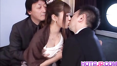 Asian milf rides cock and passionately kisses man
