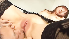 Creampied Japanese milf in sexy lingerie