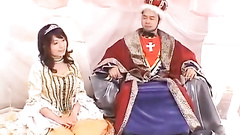 Japanese are playing hot sex role games and chick is being fucked by king