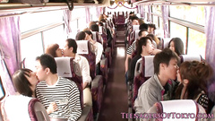 Young Asian couple gets hotly excited in the bus and enjoys pleasant fuck