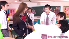 Cutie Japanese babe punishes her classmate guy in classroom