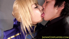 Asian blonde in superhero suit got fucked hard by handsome guy