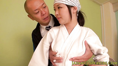 Bald Japanese guy hotly fucks young samurai chick