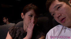 Beautiful Japanese chick does tight blowjob at movie