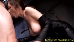 Stunning Japanese girl in beautiful blue dress fucks hot