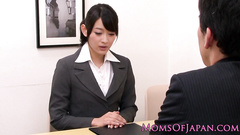 Adorably cute Japanese office worker girl gets pleased with lesbian sex