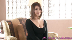 Juicy hot Japanese babe shows off hairy cunt and sucks dick