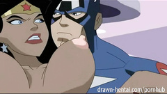Cartoon super hero is pleasuring hot fuck with busty Canary