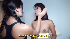 Chained Thai slave with pierced titties obeys the mistress