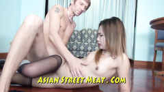 Asian whore in stockings shows sexy tattoo while fucking