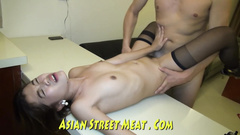 Asian cutie fucks and takes the show - horny behind the scenes porn