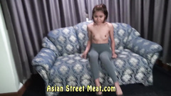 Nymph with small tits is teasing guy with tight pussy