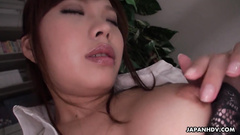 Sultry fem gets bored in the office and plays with the nub