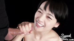 Sexy skinny Japanese chick with small boobies sucks two dicks