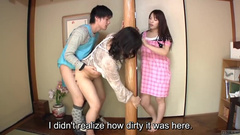 Japanese naughty young guy is fucking girlfriend's mother behind the wall
