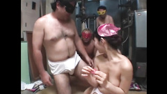 Cute Japanese sluts are experiencing hot ffm threesome with fat jerk