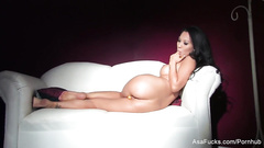 Beautiful porn model Asa Akira is excitingly pulling off her beautiful lingerie