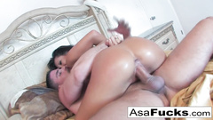 Japanese sweetie chick with awesome butt does hot blowjob and gets pounded hard