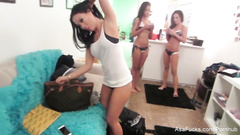 Hot chick Japanese Asa Akira is undressing and doing makeups with other porn stars