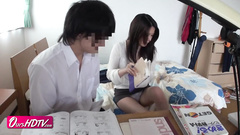 Sexy shaped Japanese tutor Ayase Ren charms her student and gets fucked
