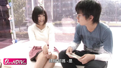 Japanese young guy with glasses seduces and fucks a chubby girlfriend