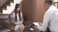 Skinny young Japanese girl Mizuki Ogawa got stroked with vibrator by mature dude